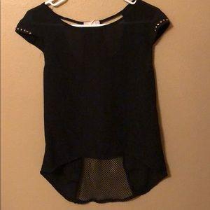 Black blouse, mesh back